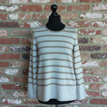 Derwent Striped Jumper Light Sand & Sesame